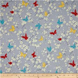 Michael Miller Sea Holly Butterfly Blossoms Gray