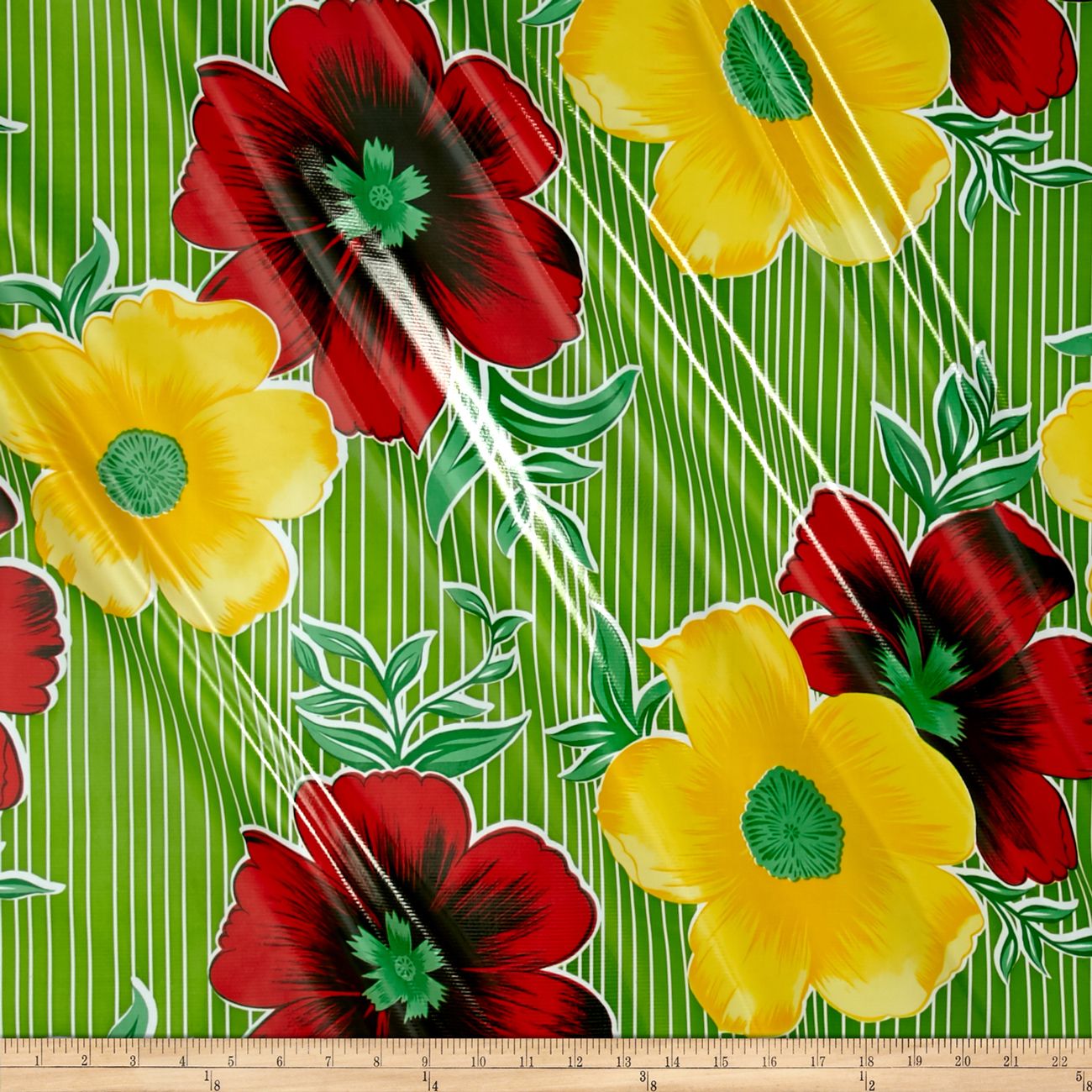 Oilcloth Mali Green Fabric by Oilcloth International in USA