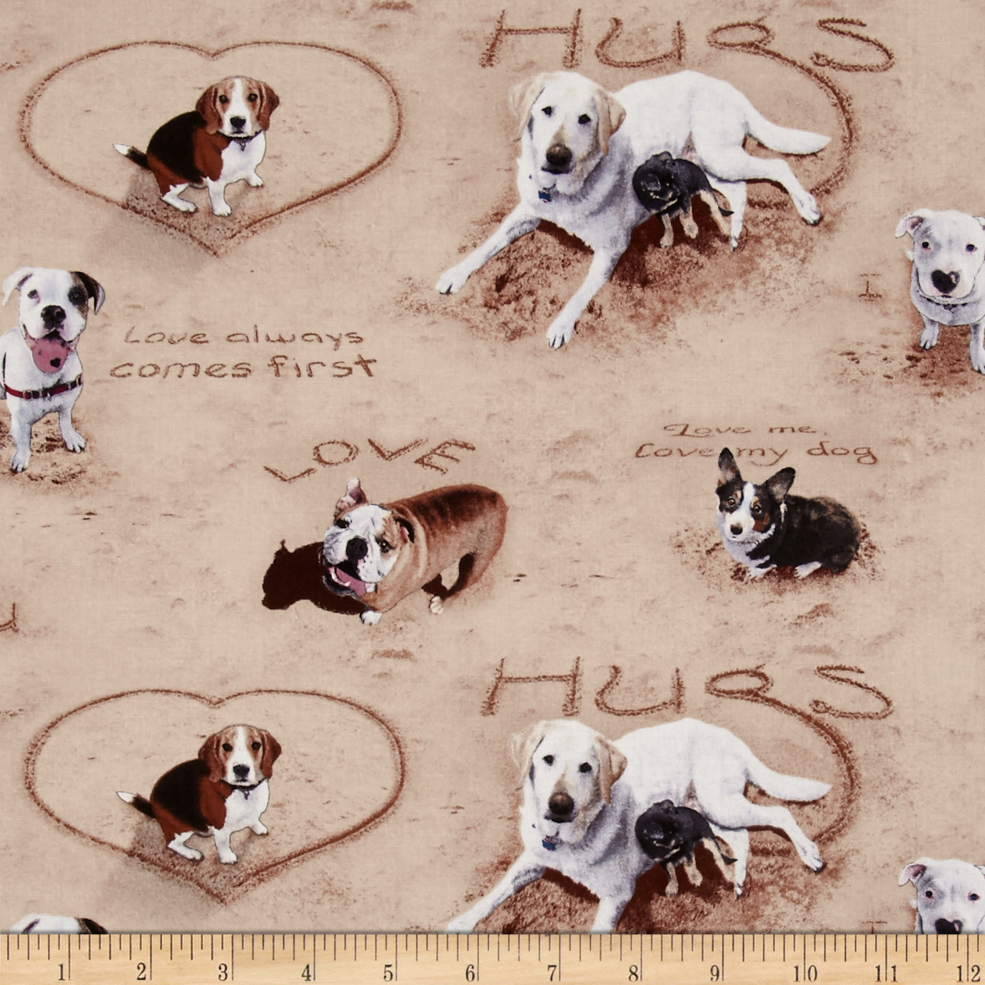 Sand Scribbles Dog Allover Hugs Sand Fabric