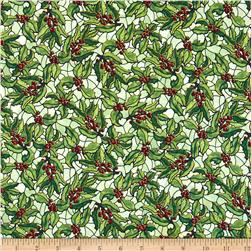 Stained Glass Christmas Holly Mistletoe/Gold Fabric