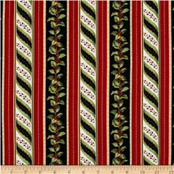 Crimson & Holly Ticking Stripe Black/Red