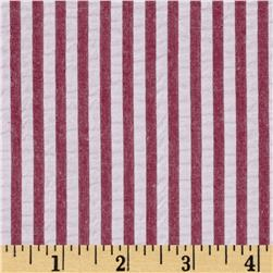 Kaufman Breakers Seersucker Stripe Red Fabric