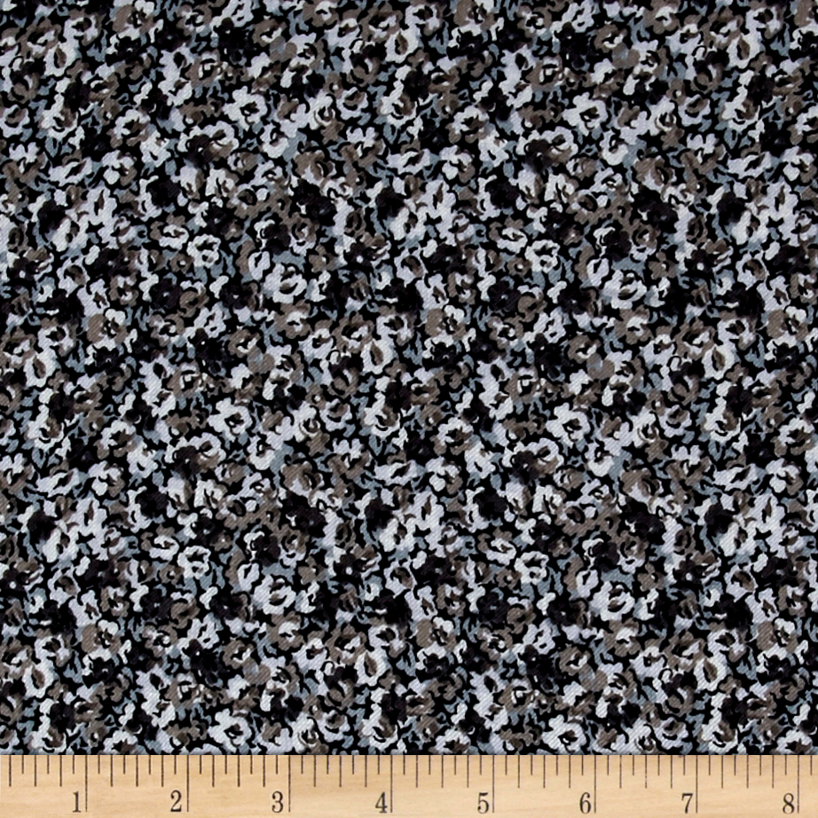 French Designer Rayon Challis Twill Ditsy Floral Blue/Grey/Taupe Fabric 0529023