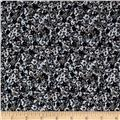 French Designer Rayon Challis Twill Ditsy Floral Blue/Grey/Taupe