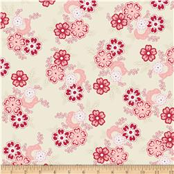 Riley Blake Raspberry Parlour Large Floral Cream Fabric