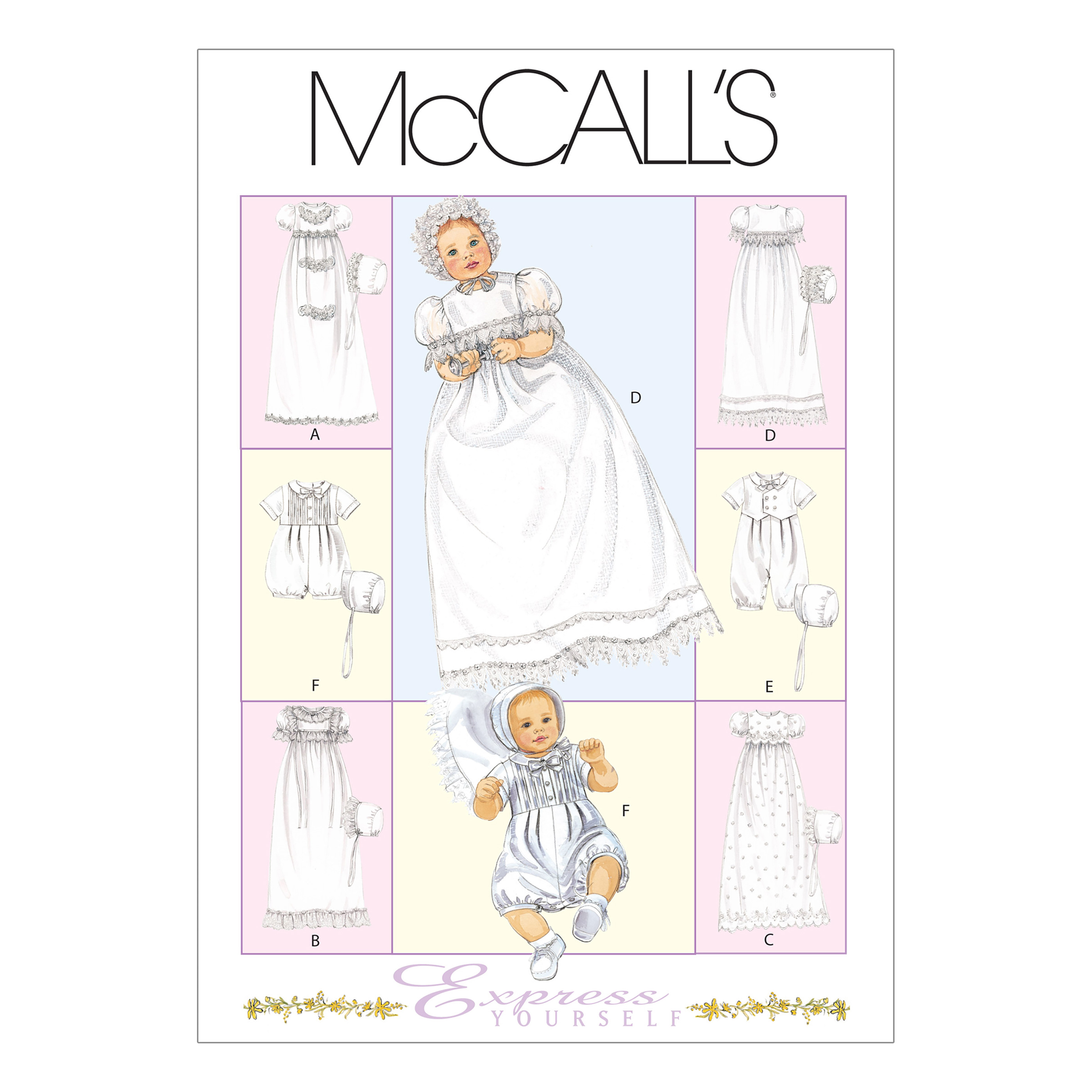 McCall's Infants' Christening Gown Rompers With Snap Crotch and Bons Pattern M6221 Size OSZ by Kwik Sew in USA