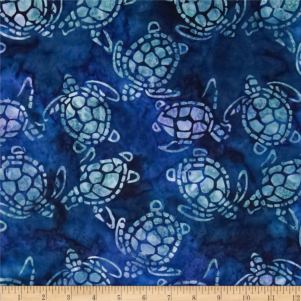 Michael Miller Batik Sea Turtles Blue Discount Designer