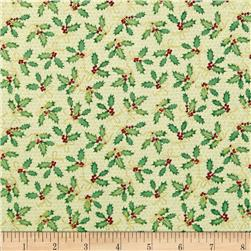 Holiday Magic Ho Ho Holly Sage Fabric