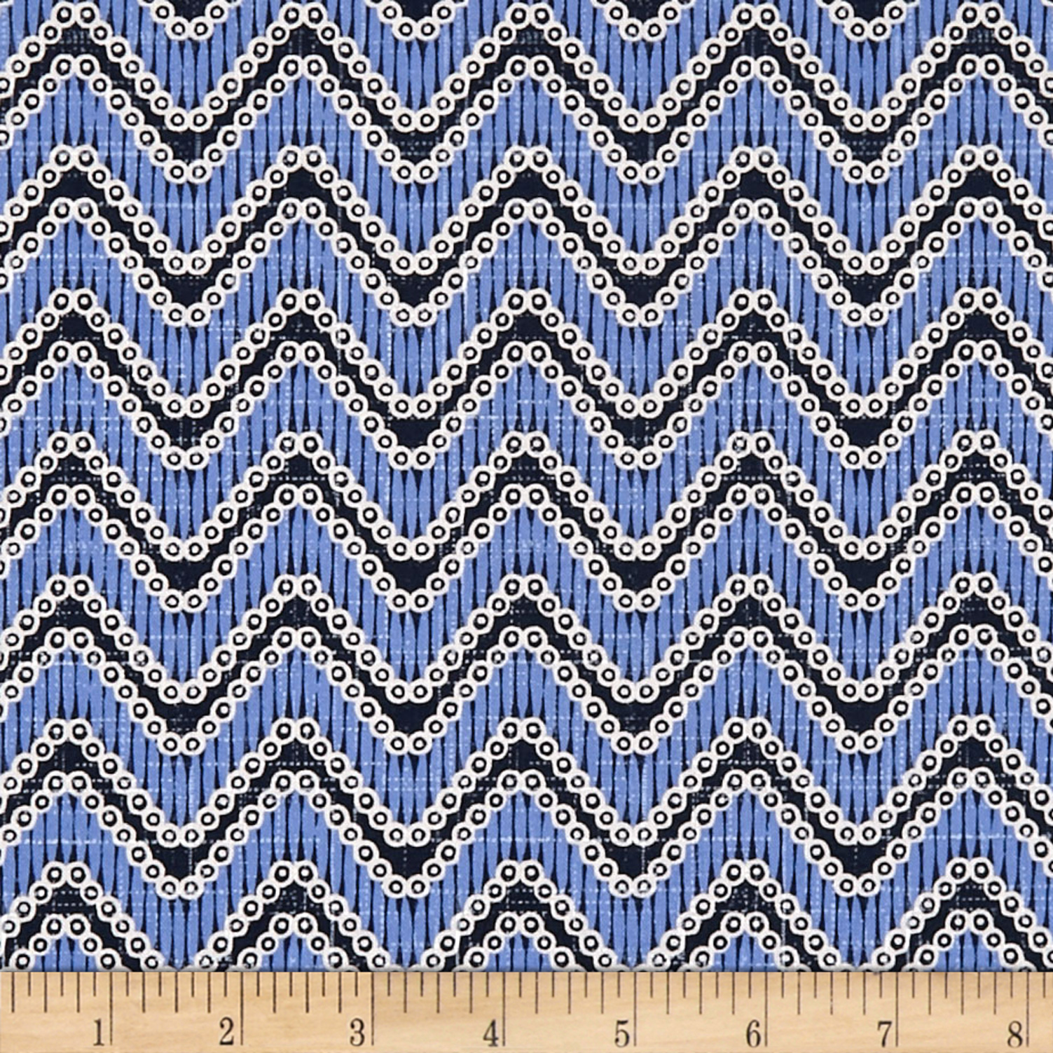 Moody Blues Chevron Medium Blue Fabric