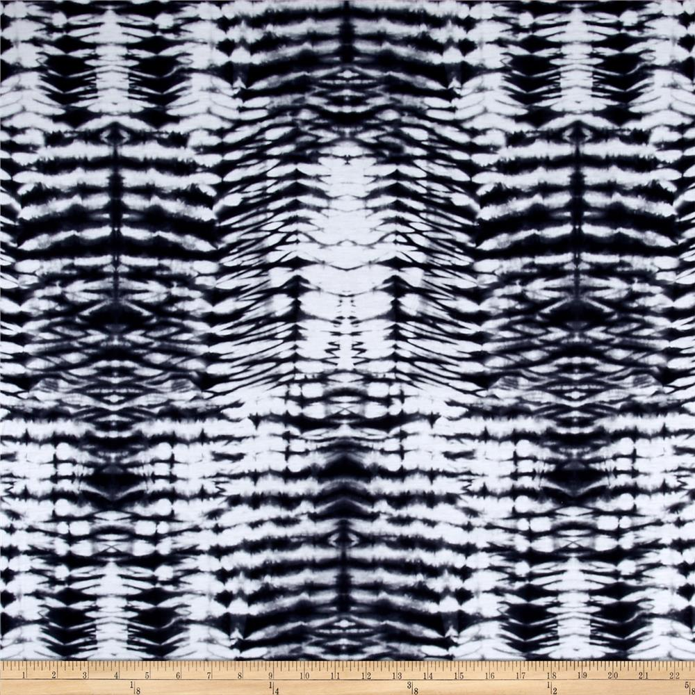 Poly Spandex Jersey Knit Tie Dye Print Black/White Fabric
