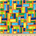 Dino-Myte Flannel Blocks & Squares Orange