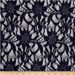 Glitter Embossed Lace Floral Navy