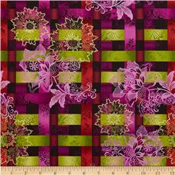 Joyful Blooms Metallic Medallion Plaid Purple