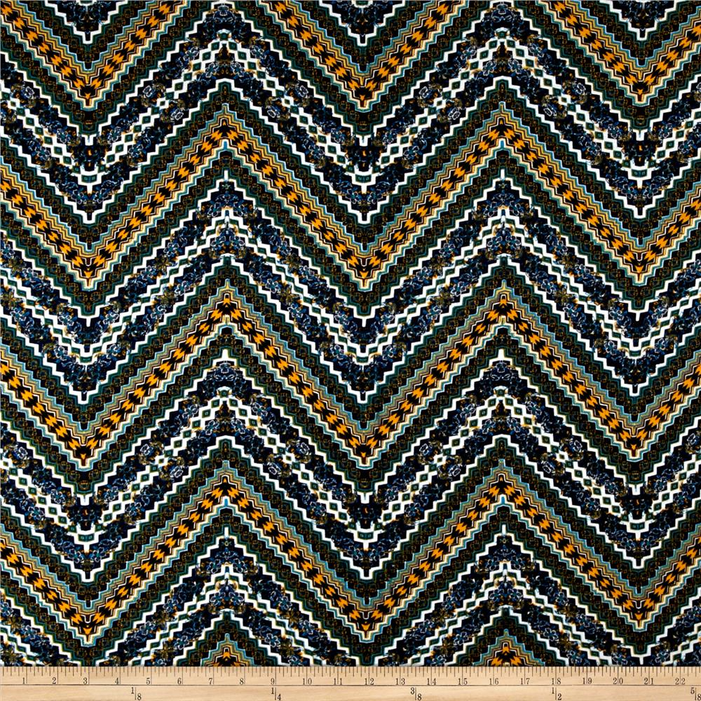 Intricate Zig Zag Span Jersey Knit Mimosa Navy Fabric By The Yard