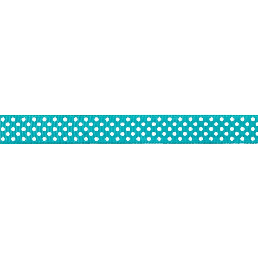 "Riley Blake 3/8"" Grosgrain Ribbon White Dots Teal"