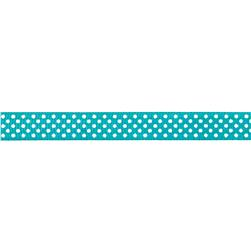Riley Blake 3/8'' Grosgrain Ribbon White Dots Teal