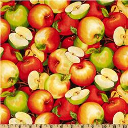 Farmer John's Garden Apples Black Fabric