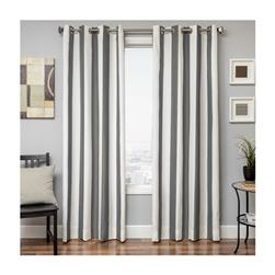 "Sunbrella 96"" Grommet Stripe Outdoor Panel Charcoal"