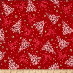 Holiday Editions Tonal Tree & Reindeer Red
