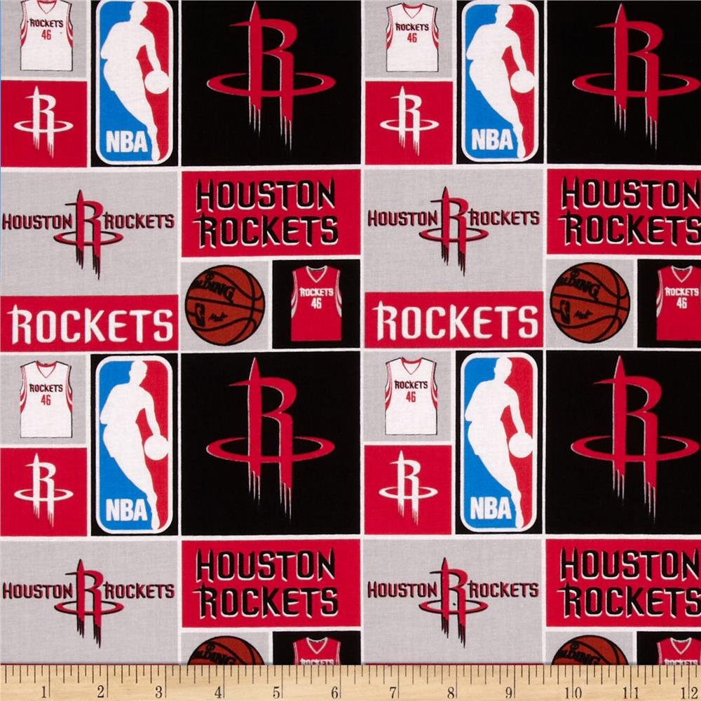 NBA Cotton Broadcloth Houston Rockets Patch Red