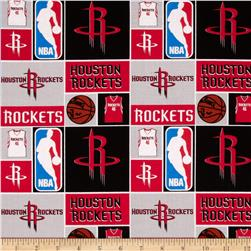 NBA Cotton Broadcloth Houston Rockets Patch Red Fabric