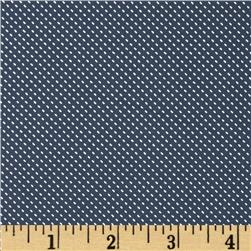 Morocco Blues Stretch Poplin Pin Dot Ocean Blue/White