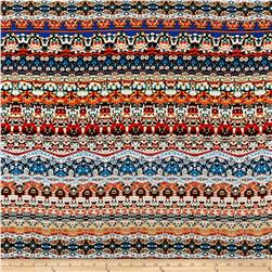 Aztec Rayon Challis Yellow/Orange/Turquoise