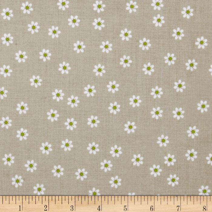 Riley Blake Polka Dot Stitches Daisy Grey