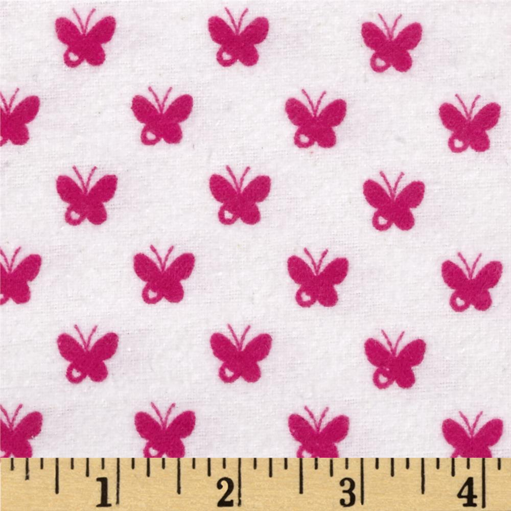 Flannelland Butterfly Ditsy White/Pink