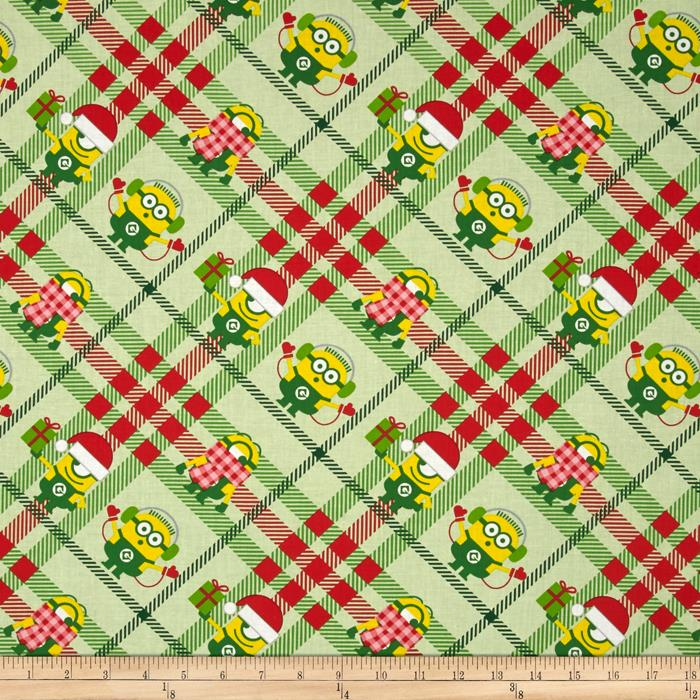 Despicable Me Christmas Minions Plaid Light Green