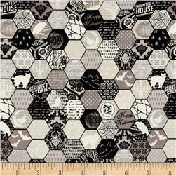Riley Blake Happy Haunting Hexagon Gray