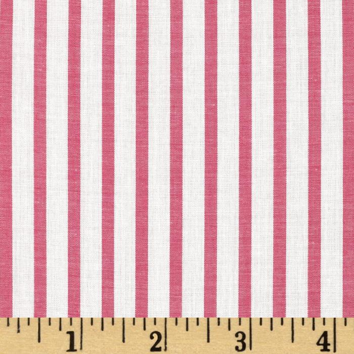 Cotton Lawn Yarn Dyed Stripe Fuchsia