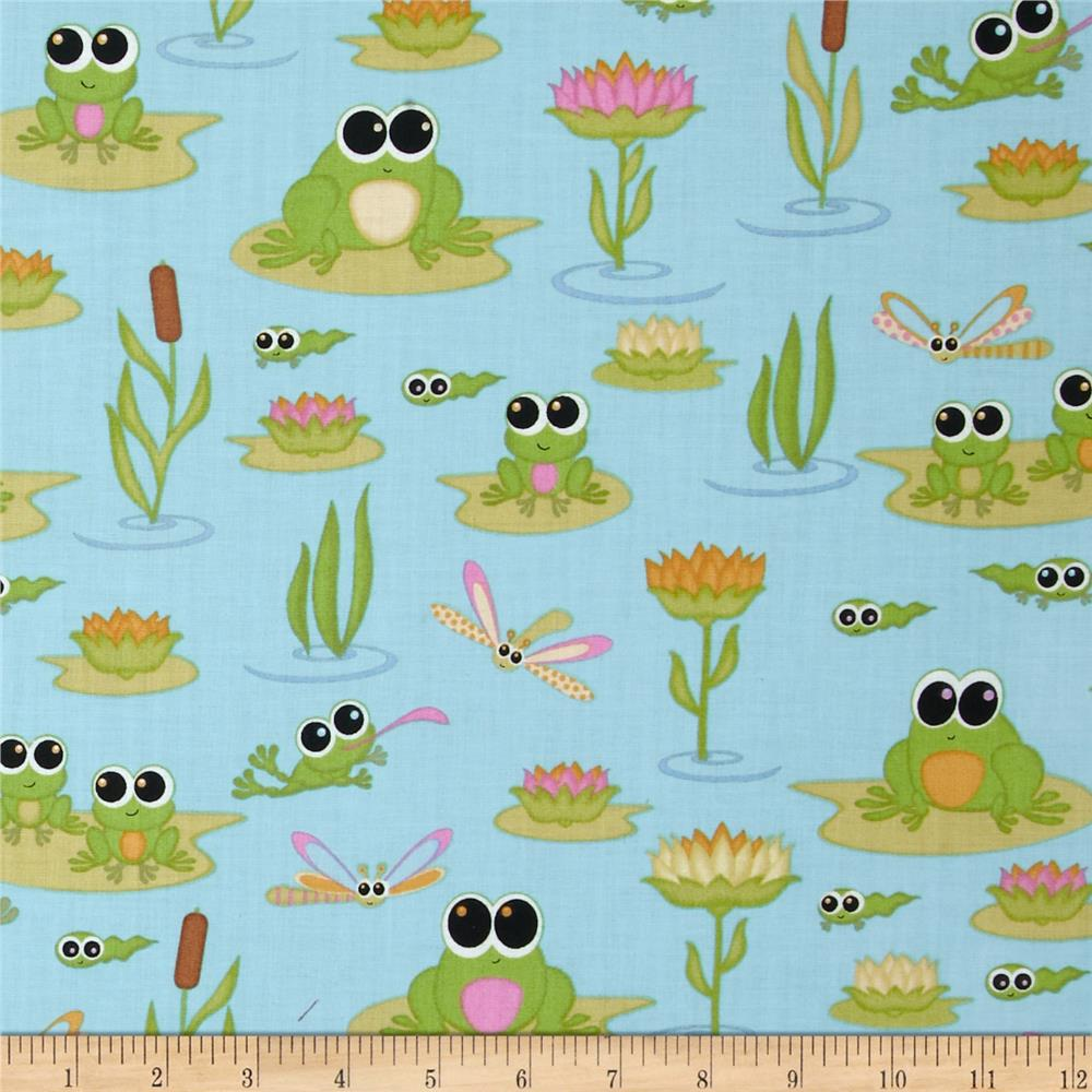 Kitschy Kawaii Frogs Blue