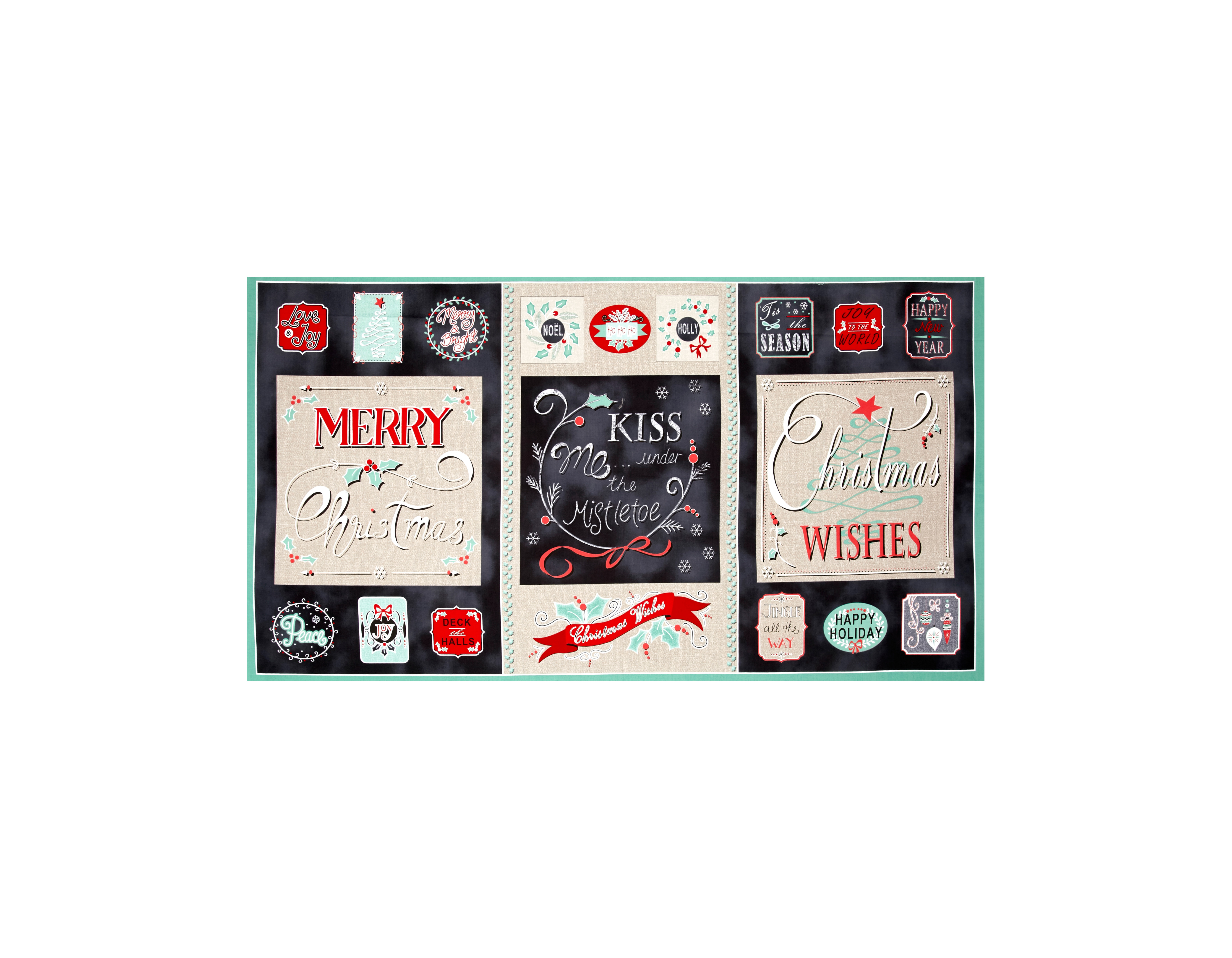 Christmas Wishes 23 In. Panel Black/Cream Fabric by Stardom Specialty in USA