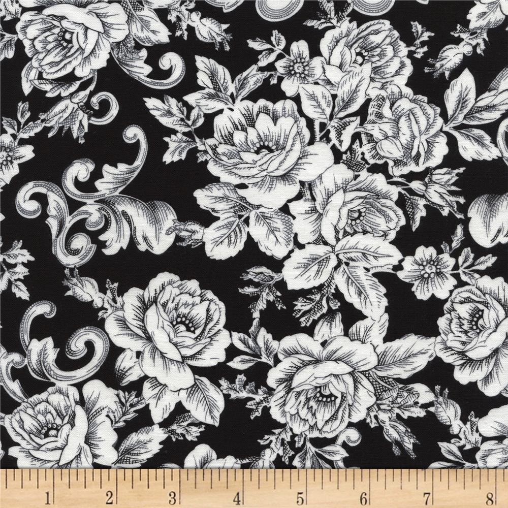 Timeless Treasures Butterflies Tonal Rose Scroll Black Fabric By The Yard