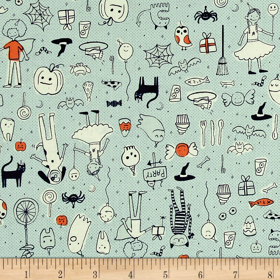 Image of Cotton + Steel Lil' Monsters Party Mint Fabric