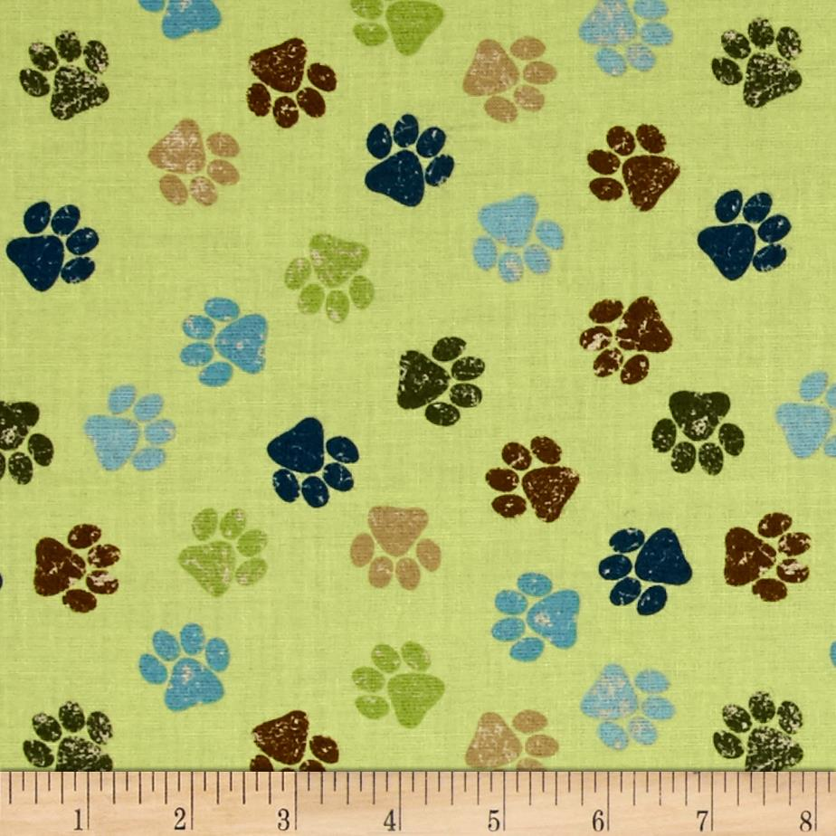 It's A Dog's Life Paw Prints Green