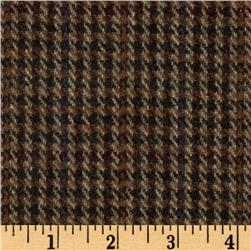 Wool Blend Houndstooth Dark Brown