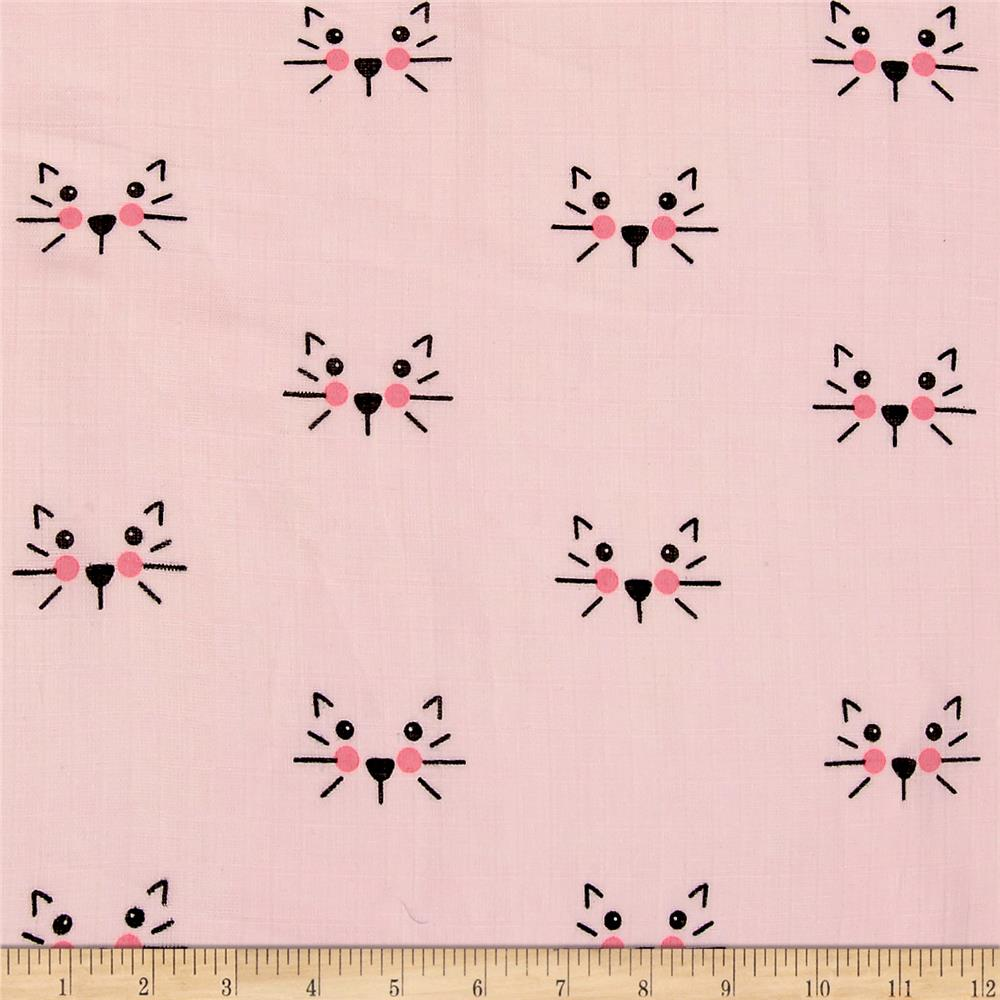 Riley Blake  Double Gauze Cat Pink