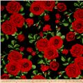 Timeless Treasures Glamour Spaced Roses Black