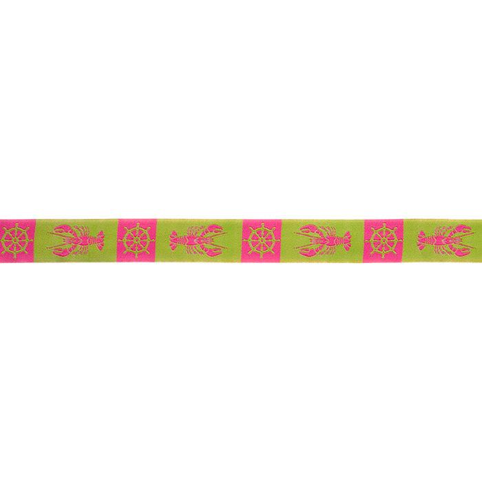 7/8'' Ribbon Lobster Nautical Lime/Pink