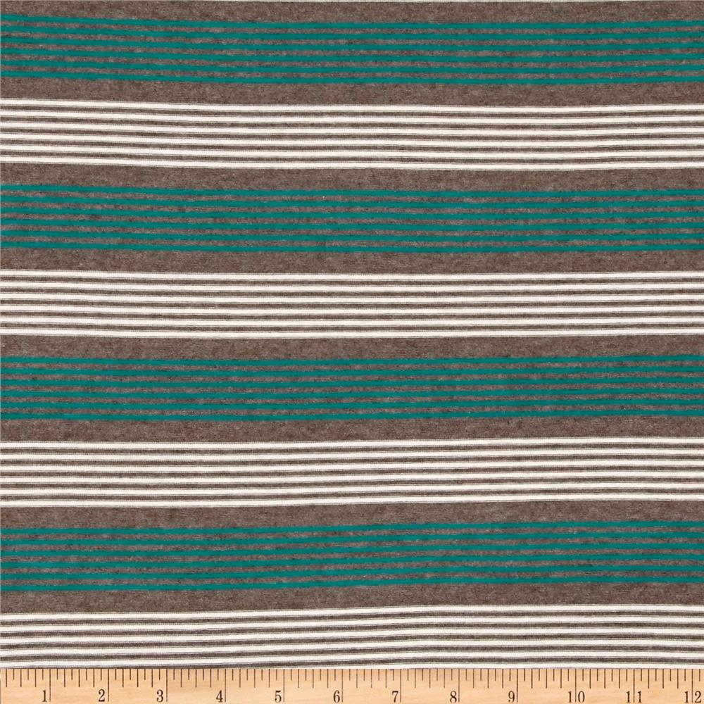 Designer Stretch Rayon Jersey Knit Thin Stripe Turquoise/White