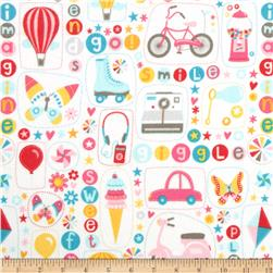 Riley Blake Girl Crazy Flannel Main Cream Fabric