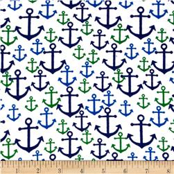Flannelland Nautical Anchors Navy/Kelly Green