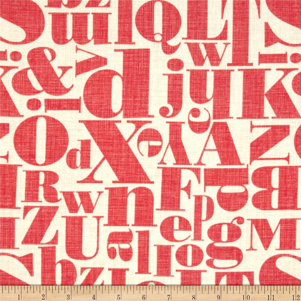 Michael Miller Just My Type Letterpress Red