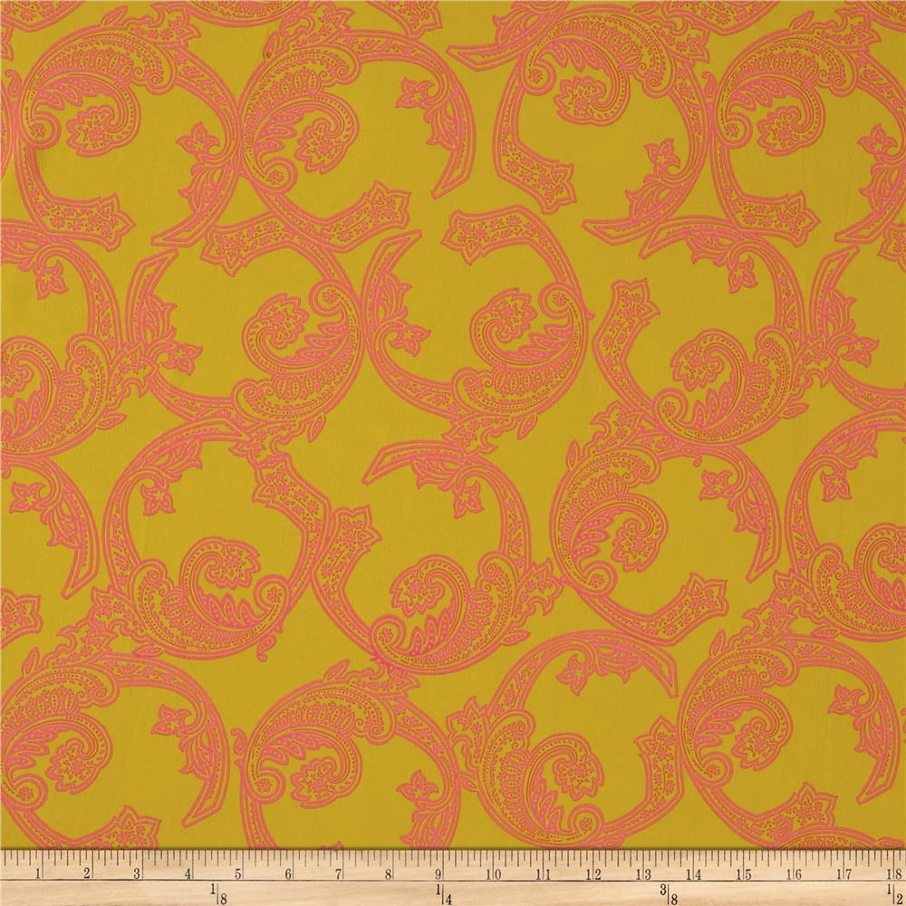 Crepe Circle Scrolls Mustards Coral