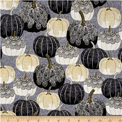 Spellbound Metallic Pumpkins Grey