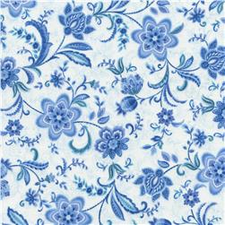 Timeless Treasures Vienna All Over Floral White Fabric