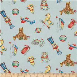 Christmas Tossed Toys Blue Fabric