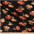 Crinkle Tricot Knit Floral Black/Coral